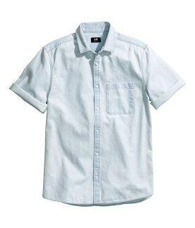 1fb317ddf0c2 Men   Short Sleeve Denim Shirts   H&M US   Wardrobe   Short sleeve ...