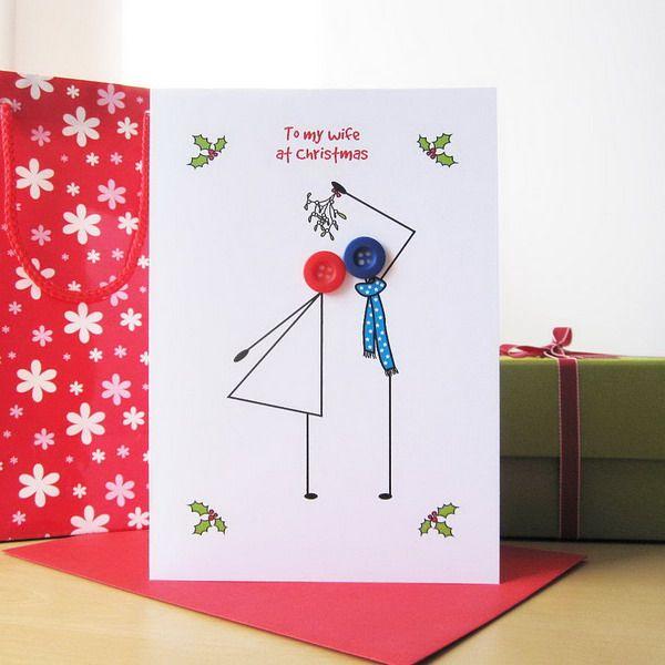 Button Christmas Card, Creative Homemade Christmas Cards