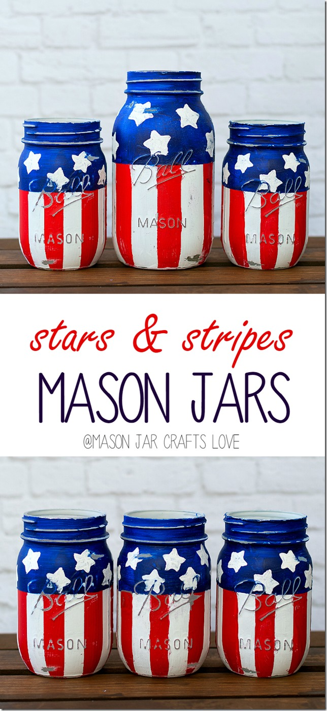Stars & Stripes Mason Jars - Mason Jar Crafts Love