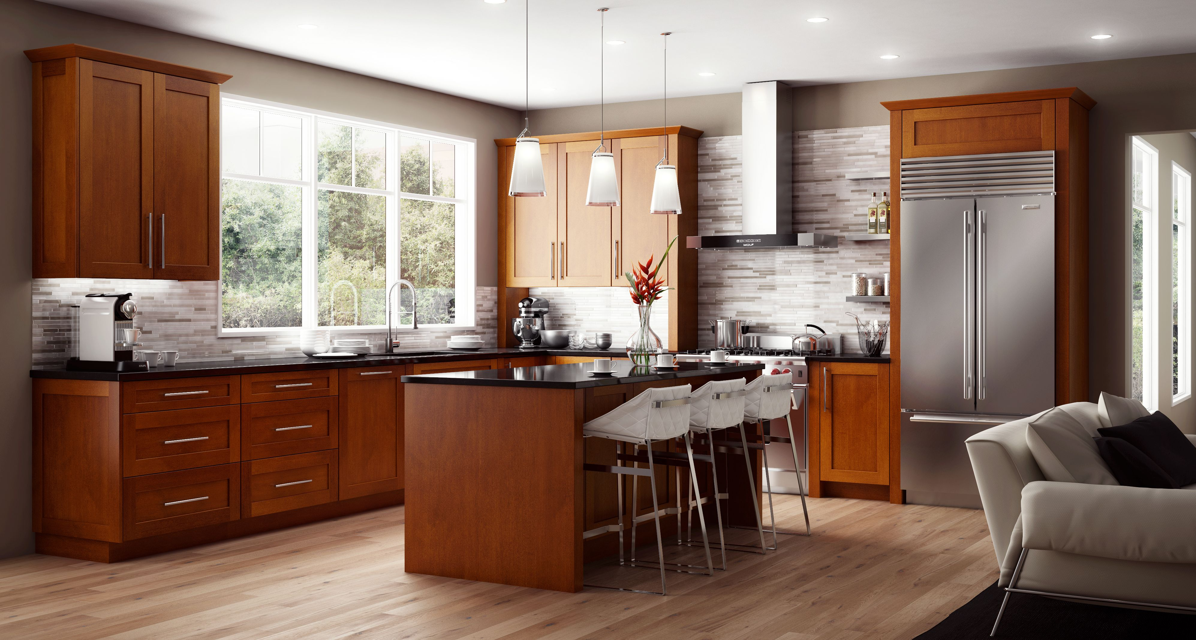 Cnc Elegant Nutmeg The Name Says It All Perfect For Either Traditional Or Contemporar Kitchen Cabinets Prices Modern Shaker Kitchen Shaker Kitchen Cabinets