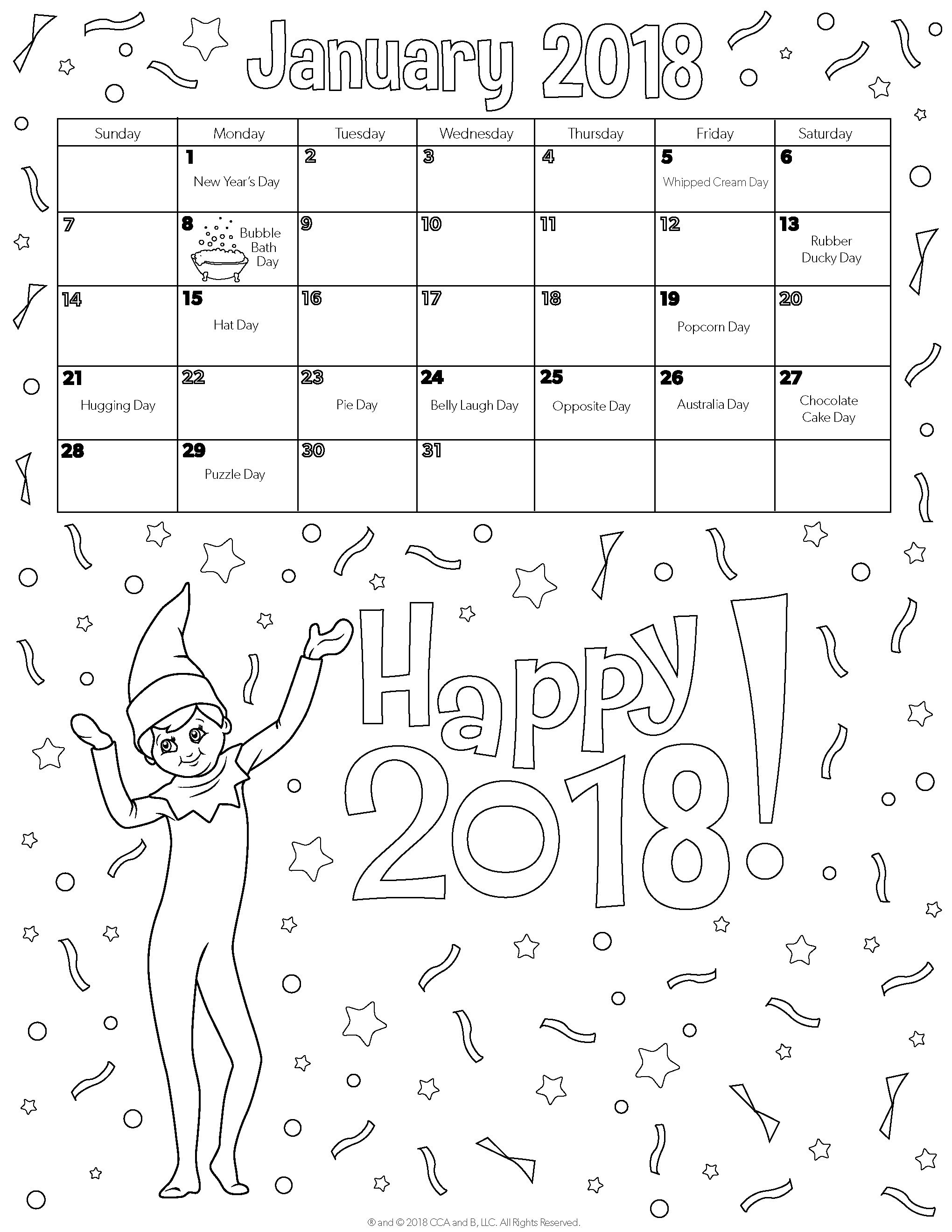 January 2018 Printable Calendar | Coloring Pages for Kids