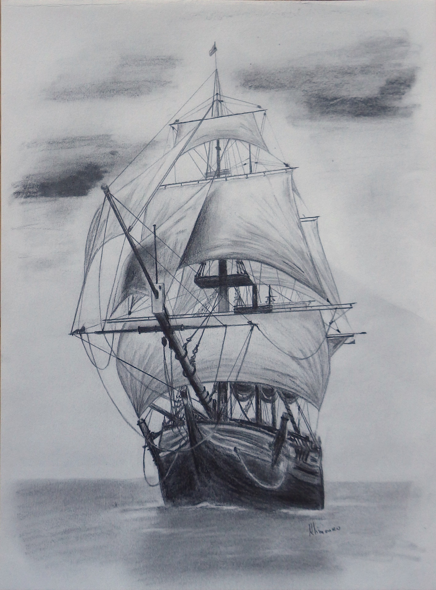 Old tall ship sail ship sketch original art graphite pencil drawing by elena whitman