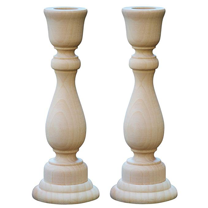 Amazon Com 6 3 4 Inch Unfinished Candlesticks Holders Pack Of 2 Unfinished Wood Classic C In 2020 With Images Wooden Candle Sticks Wooden Candlestick Holders Candlestick Holders