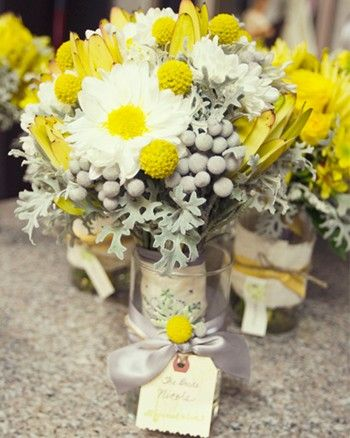 The Grey Balls Are Fun Yellow And Grey Floral Arrangement