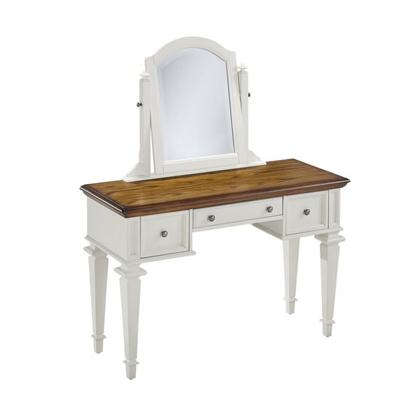 Home Styles Americana Vanity and Mirror Country French/Shabby Chic - Bedroom Vanity Table