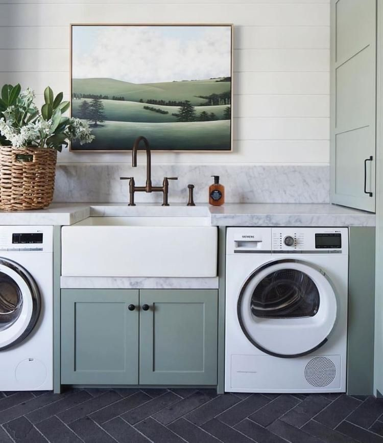 21 Decade Trends That Are Simmering Down And The 21 Trends That Are Replacing Them In 2021 Laundry Room Renovation Herringbone Floor Black Herringbone Floor Laundry room redo july 2009