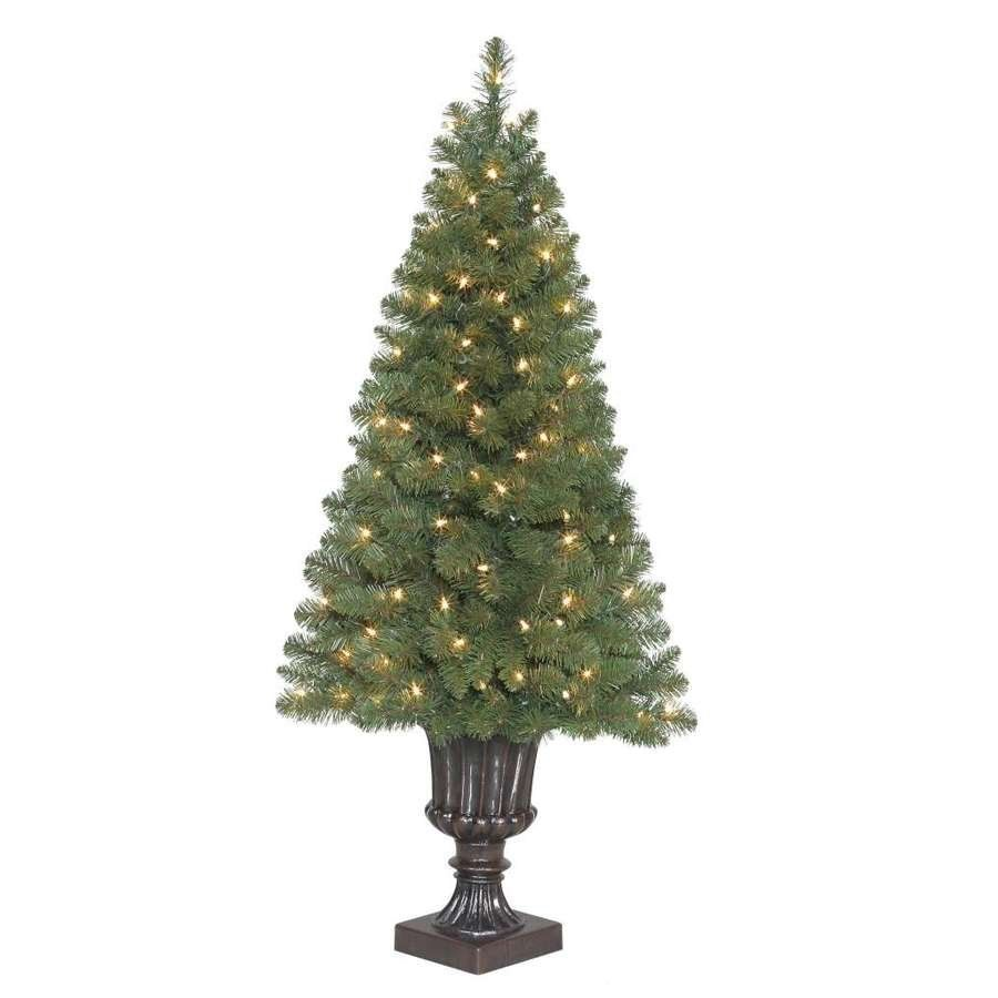 Holiday Living 4 Ft Arctic Pine Pre Lit Potted Artificial
