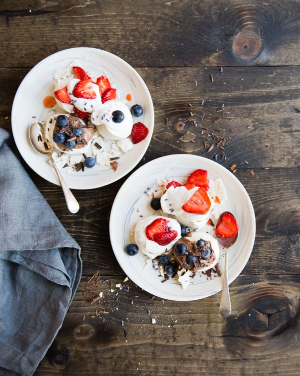 Mini Lavender Pavlovas With Summer Berries