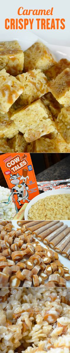This Caramel Rice Crispy Treat recipe is a classic and PERFECT for Halloween! Made with Vanilla Cow Tales caramel.