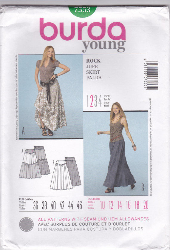 Woman\'s Tiered Full Length Skirt Burda Young Pattern 7553 - Uncut ...