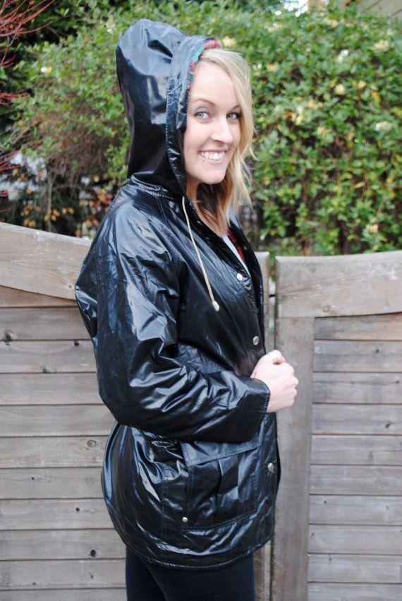 Vintage Raincoat Traditional Plaid BlackRainwear In Lined ulFJTKc31