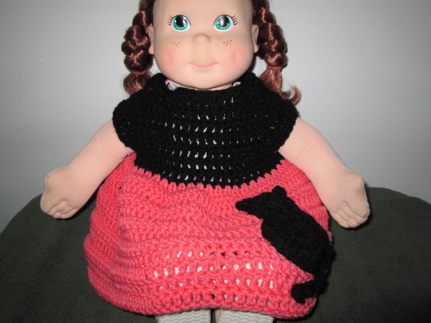 ec764c566537 3 - 24 Months Baby Girl Orange and Black Sweater Dress Crocheted by ...