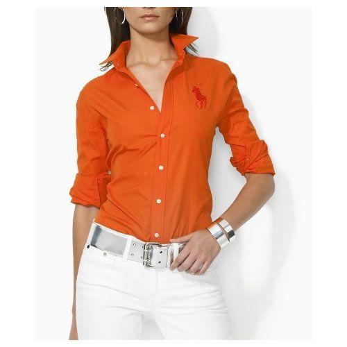 541b405f637b1 Ralph Lauren Coton Shirt Femme orange Polo Orange