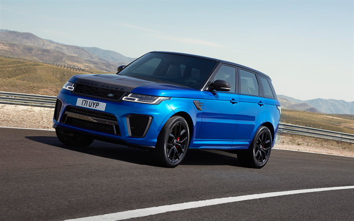 Download Wallpapers Land Rover Range Rover Sport Svr 2018 Blue