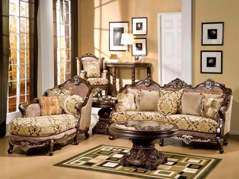 European Bedroom Interior Design Beautiful Living Room Brown Abstract Pattern Victorian Converti Set Ruang Keluarga Ide Sofa Ruang Tamu Furnitur Ruang Keluarga