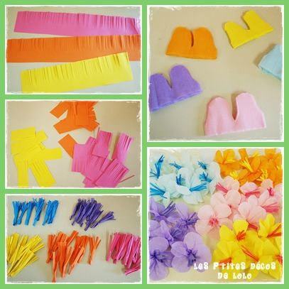Diy faire des fleurs hawa ennes en cr pon paper - Decoration en papier crepon ...