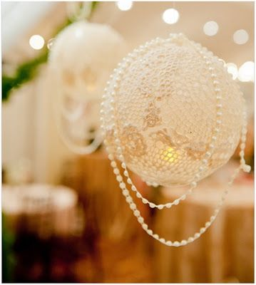 lace covered balloon think I might paint some of these gold and metallic creamy off white tones to hang at the reception