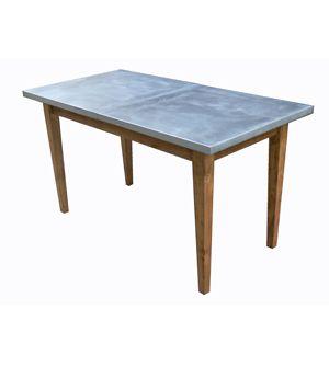 Mesa de madera con sobre de zinc tables mesas for Mesas de comedor tipo industrial
