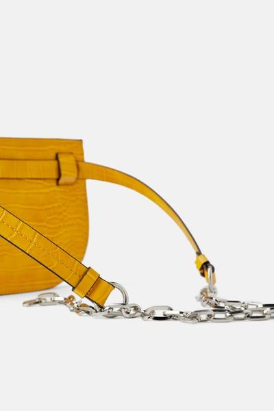 65986d26fb3a ZARA - Female - Animal print crossbody belt bag - Yellow - M in 2019 ...