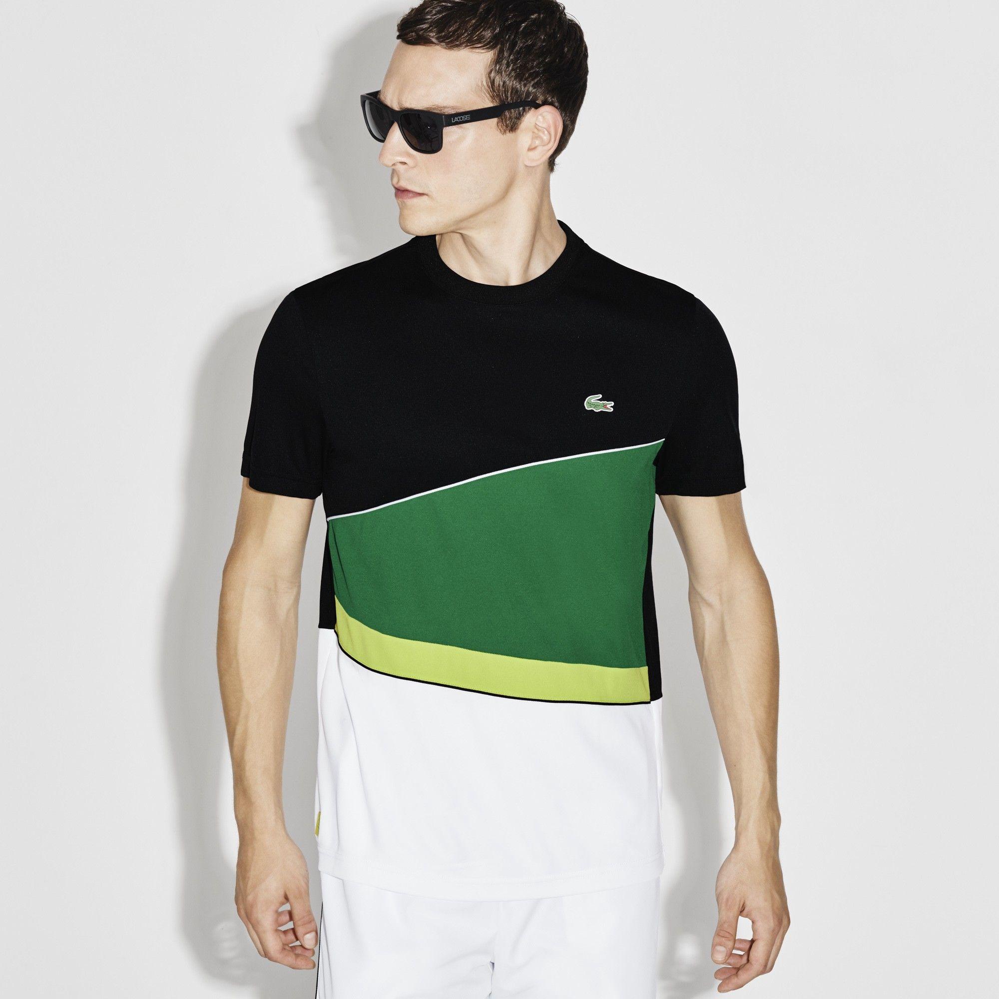 LACOSTE Men s SPORT Resistant Colorblock Piqué Tennis T-shirt -  black woodland green-lemo.  lacoste  cloth   a0ccb42154