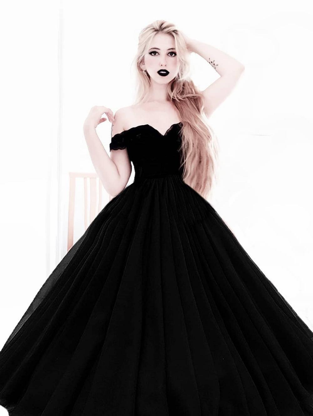 Black Gothic Princess Ball Gown Wedding Dress 2020 Siyah Gelinlik Balo Elbisesi Alternatif Gelinlik