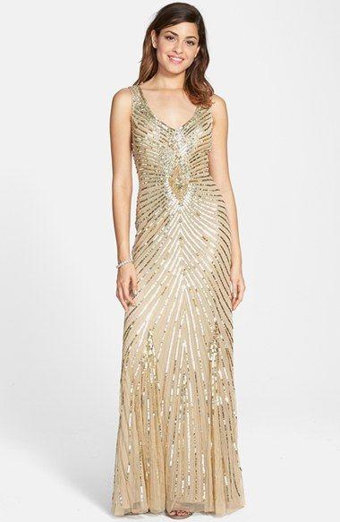 Aidan Mattox Sequin Mesh Column Gown In Light Gold