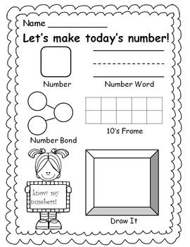 Here's a recording page for working on number of the day