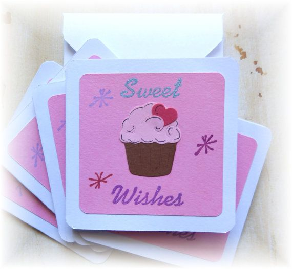 3 x 3  Note cards Sweet Wishes  ~ Mini Note Cards by HeartsCalling on ETSY