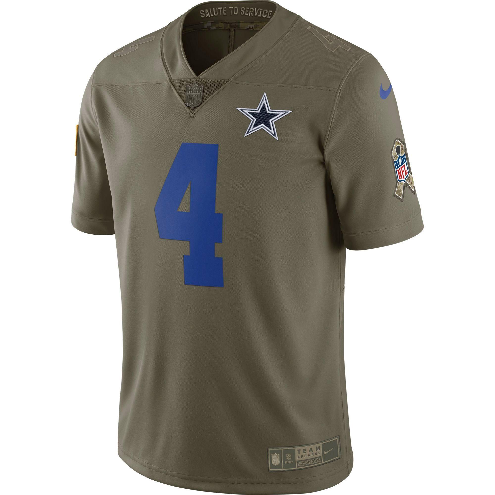79bd6f17377 Dallas Cowboys Dak Prescott  4 Salute To Service Football Jersey ...