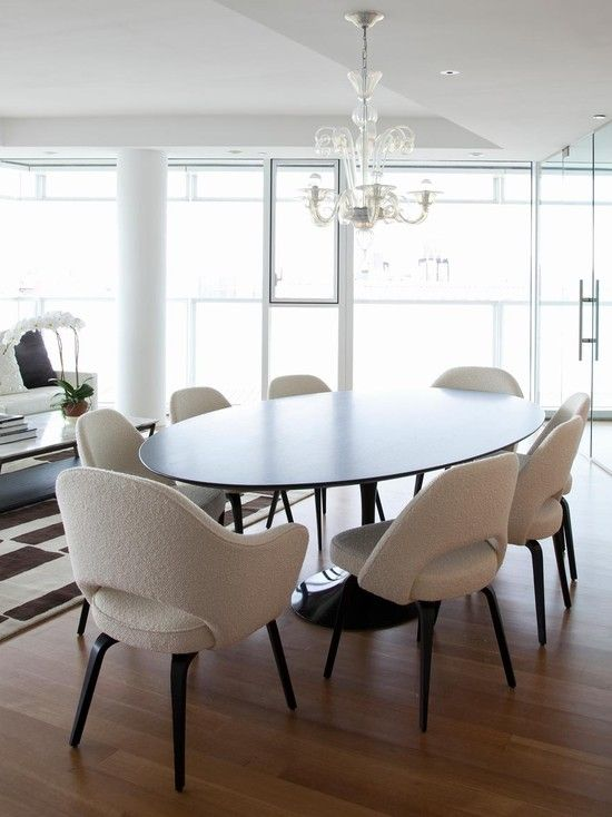 Excellent Sarineen Table For You Beautiful Home with Eclectic Dining:  Contemporary Dining Room Saarinen Table
