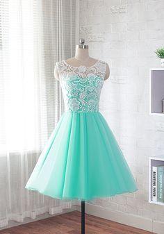 Lace prom dress, short evening dress, homecoming dress, bridesmaid dress #fiestade15años