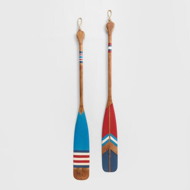 Red and Blue Wood Oars Wall Decor Set Of 100 - v10  Painted oars