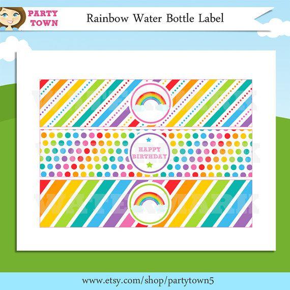 Rainbow Water Bottle Labels  Rainbow Labels  Rainbow Birthday