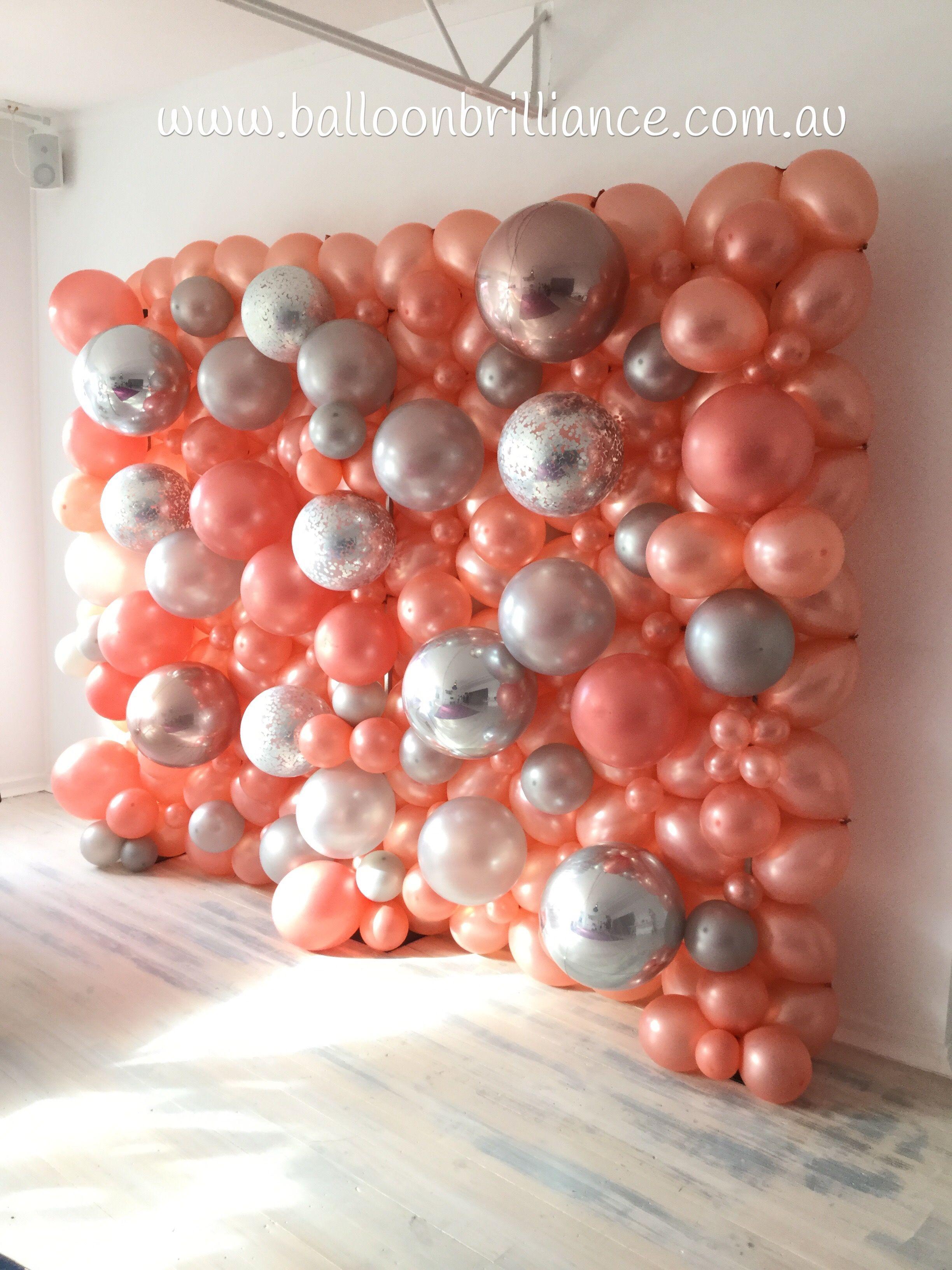 Rose Gold And Silver Balloon Wall Rosegoldballoons Balloonwall