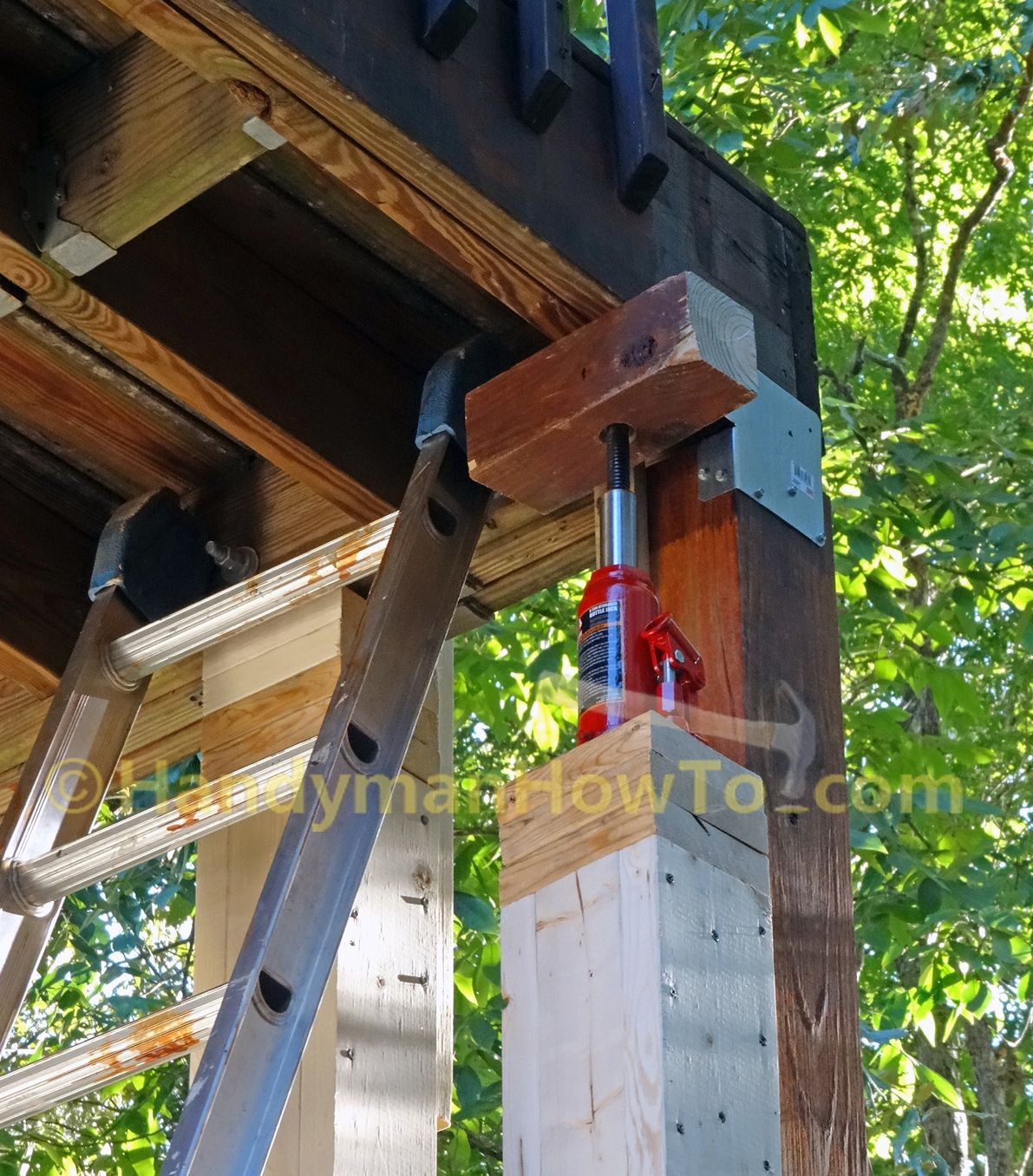 How To Install A 6x6 Wood Deck Post By Jack Up The Deck