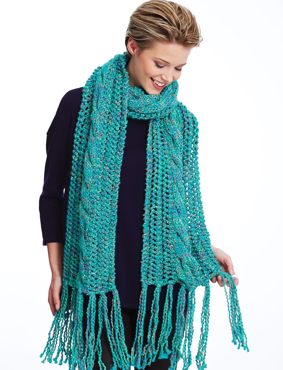 Yarnspirations.com - Bernat Ladders and Cables Scarf - Patterns ...