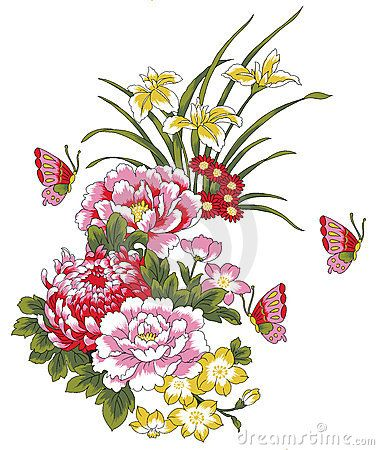 Drawing Of Many Beautiful Flowers And Butterflies