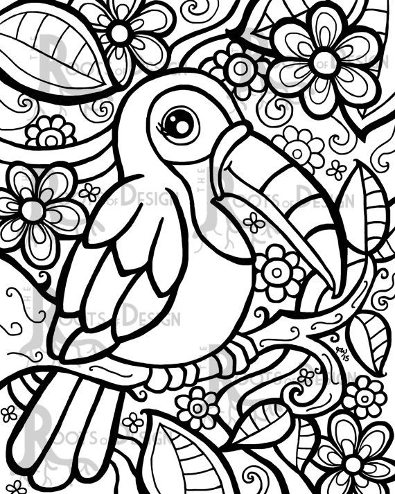 Instant Download Coloring Page Toucan Art Print By Rootsdesign