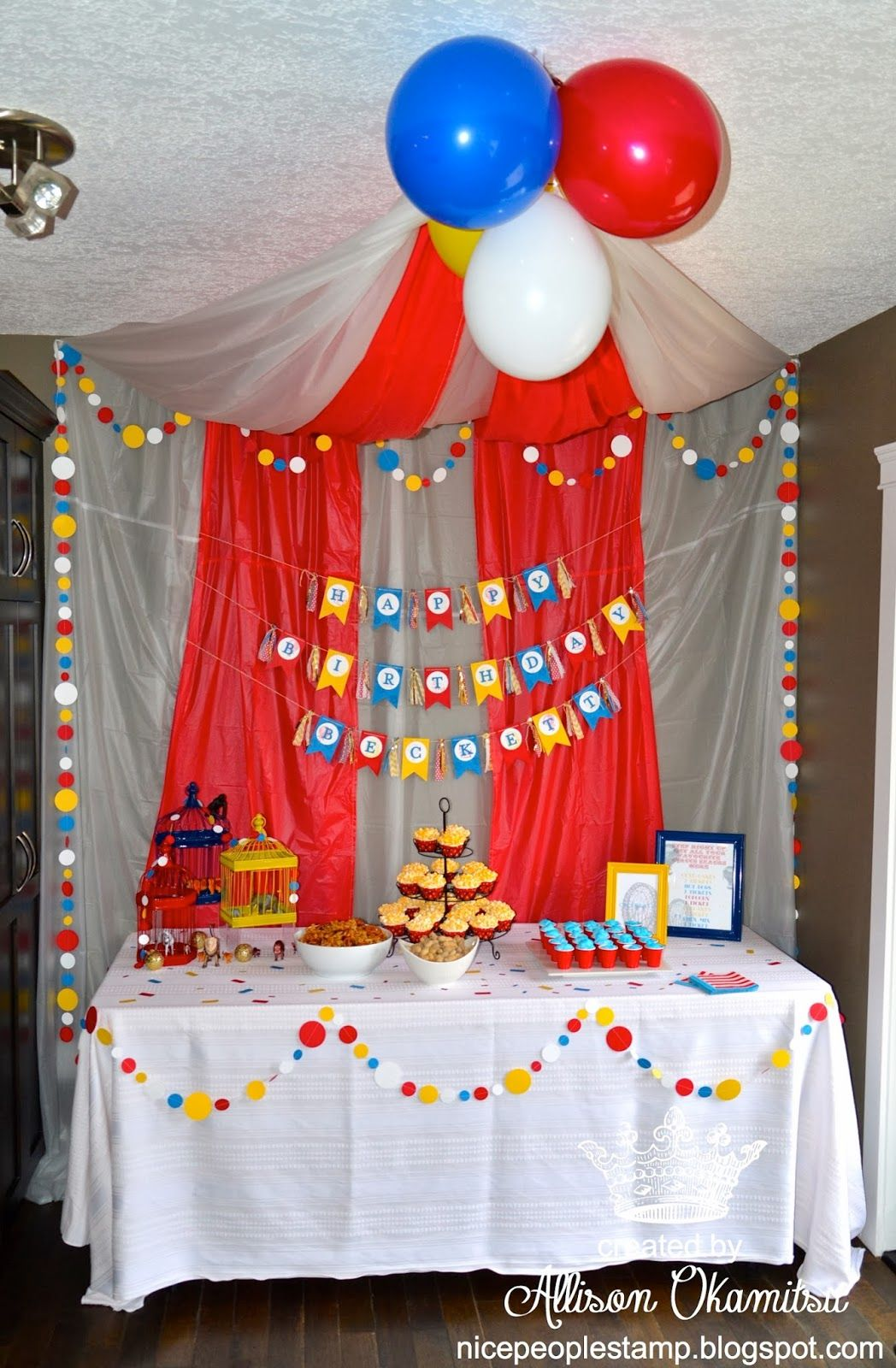 carnival food table idea can use plastic table clothes for this