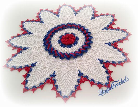 Linda Crochets Pineapple Ripple Rose Doily Doily Picks