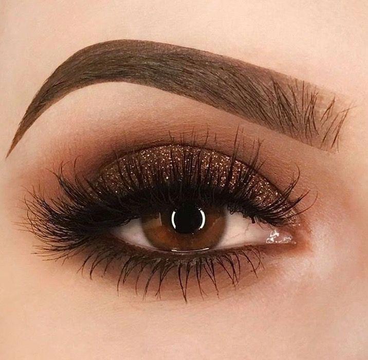 Brown bronze smokey eyeshadow eye makeup  - makijaz -