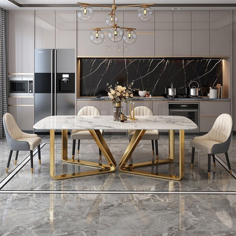 Photo of $1,145.99 Modern Rectangle 63″ Faux Marble Dining Table Gold…