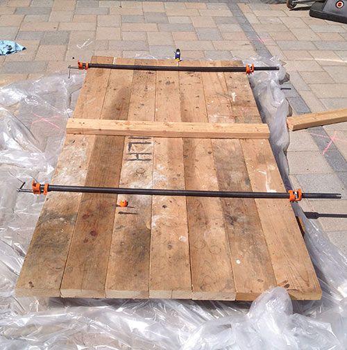 Building My Own Garage Door: Wood Glue And Pipe Clamps To Glue The Diy Barn Door