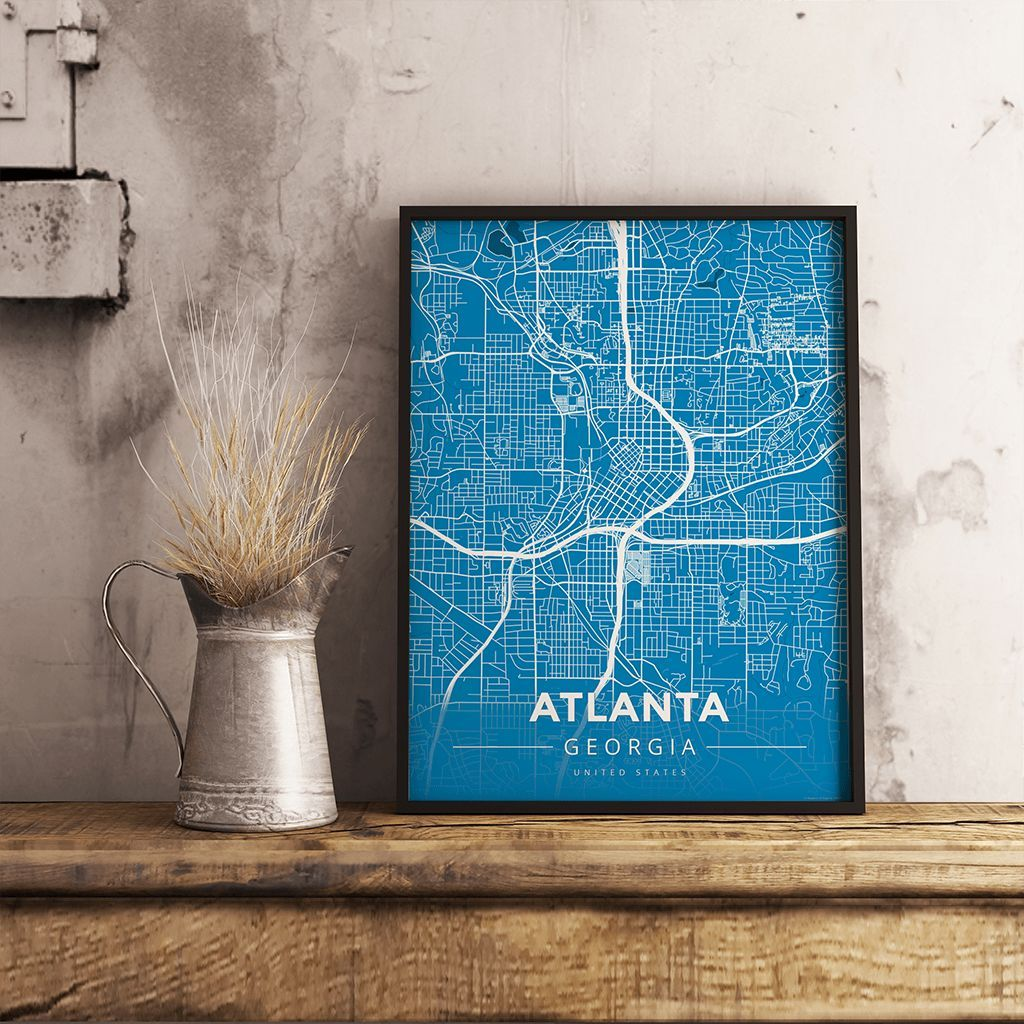 Houston Map Framed%0A Premium Map Poster of Atlanta Georgia  Modern Blue Contrast  Unframed   Atlanta Map Art