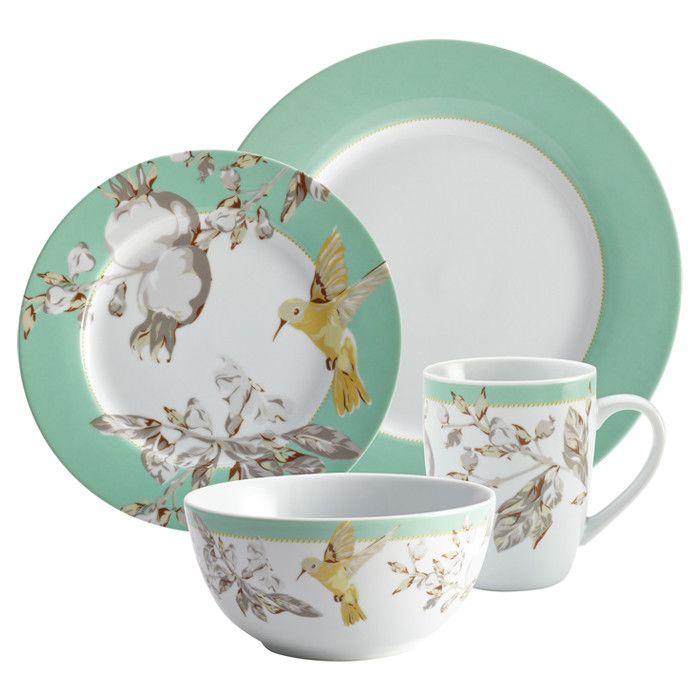 16 Piece Bonjour Hummingbird Dinnerware Set Dinnerware Set