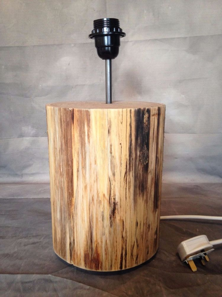 Wooden tree log lamp, handmade, unique lighting