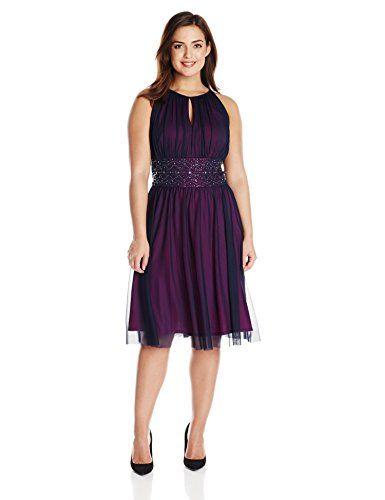 821caca8dff Jessica Howard Women s Plus-Size Sleeveless Keyhole Beaded Dress ...