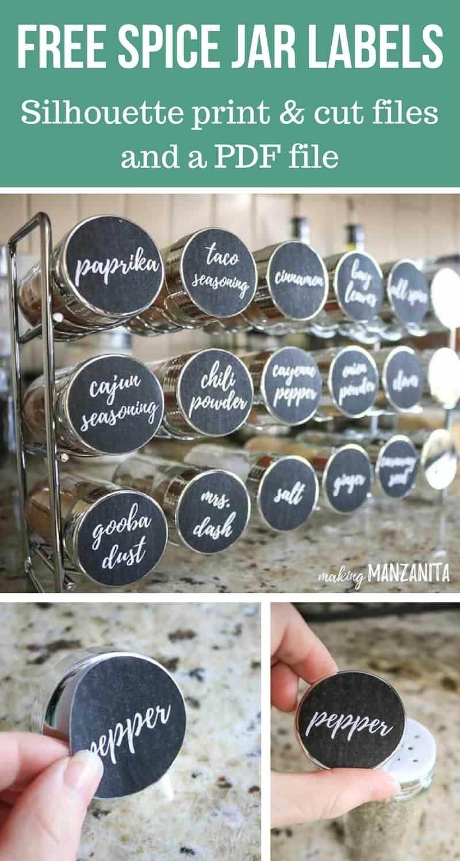 Spice Cabinet Organization Free Printable Labels Making Manzanita Spice Cabinet Organization Spice Organization Spice Jar Labels