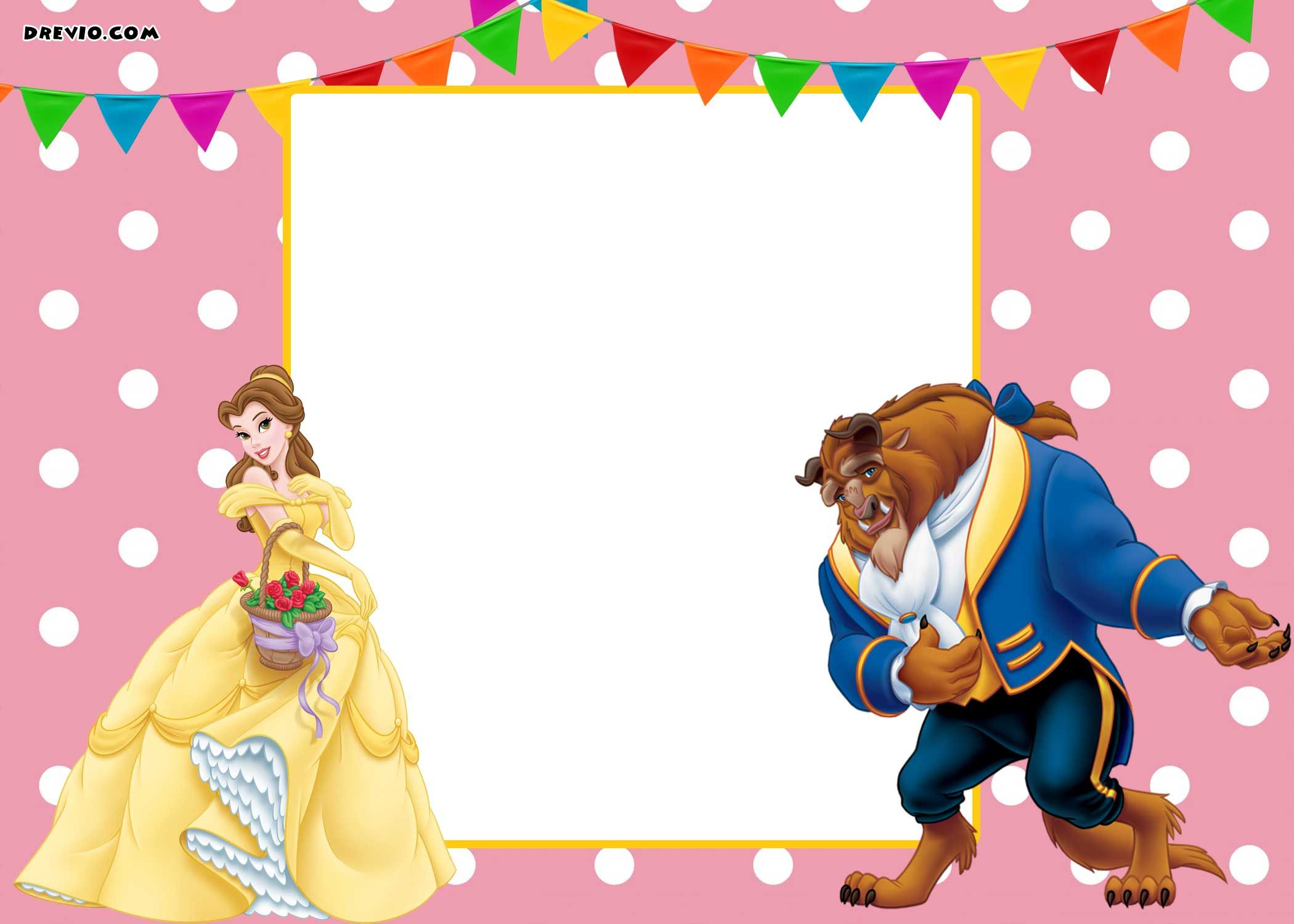 free printable beauty and the beast royal invitation template