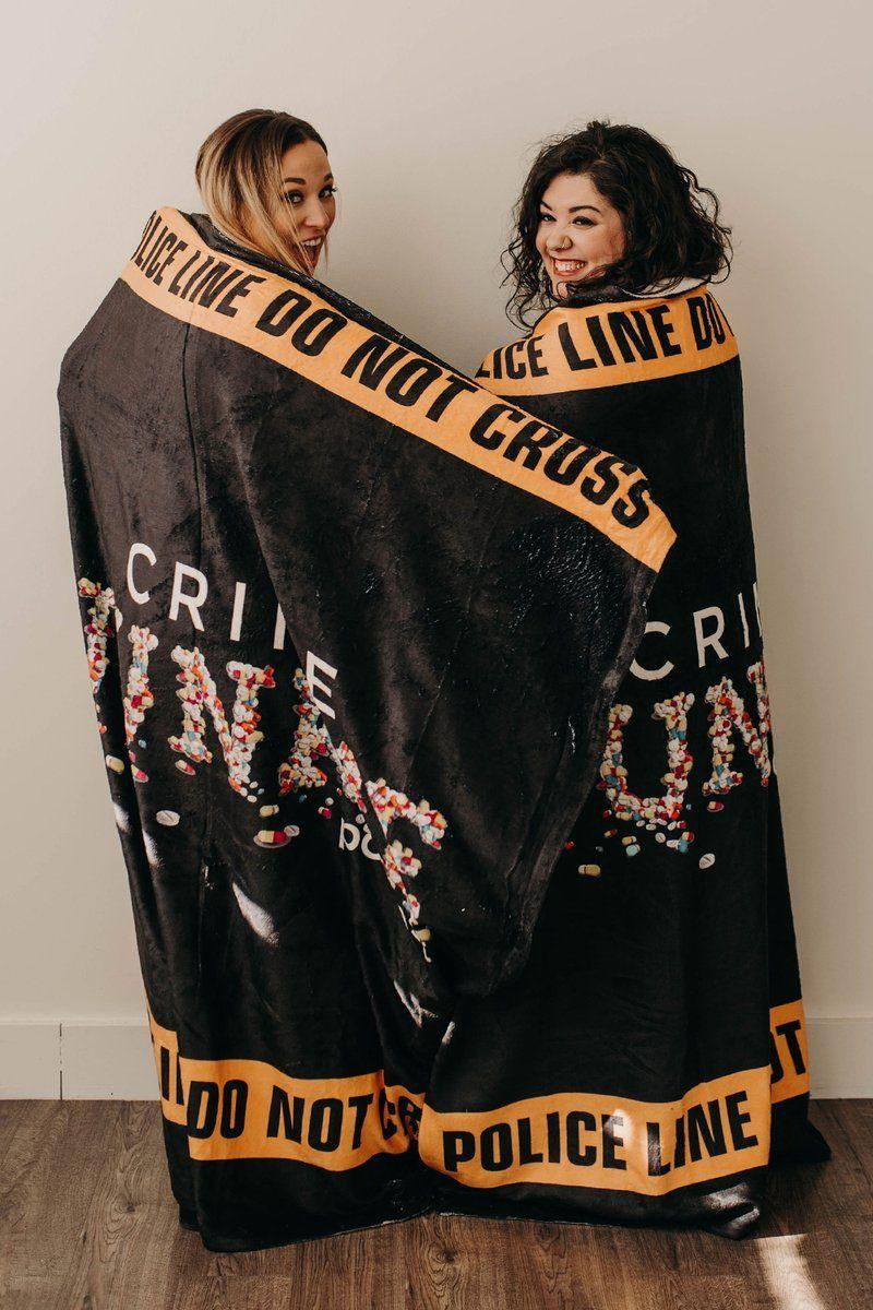 Crime Junkie Caution Logo Fleece Blanket Crime Junkie